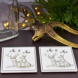 Mr and Mrs Stag Coasters