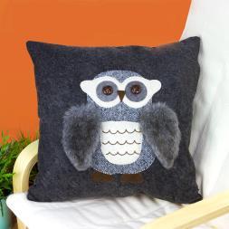 Fluffy Grey Owl Cushion