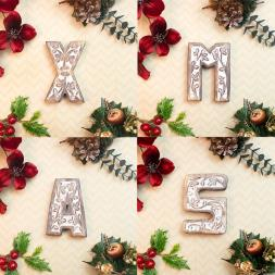 Carved Wooden Xmas Block Letter Set