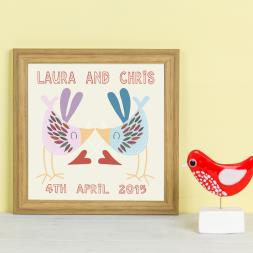 Personalised Love Bird Kiss Framed Print