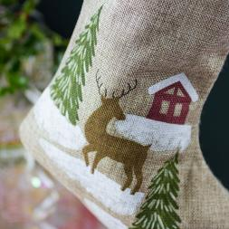 Reindeer Christmas Scene Stocking