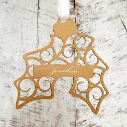 Personalised Hanging Holly Christmas Decoration