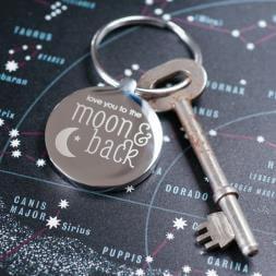 Personalised Moon & Back Keyring