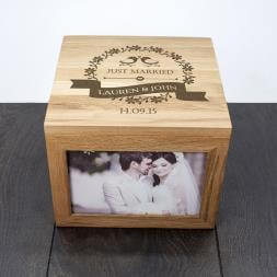 Personalised Love Birds' Oak Photo Keepsake Box