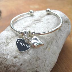 Personalised Puff Heart Bangle