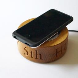 Personalised Oak Wireless Phone Charger