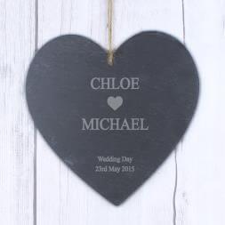 Personalised Heart Motif Slate Heart