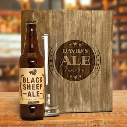 Engraved Wooden Box and Ale Gift Set