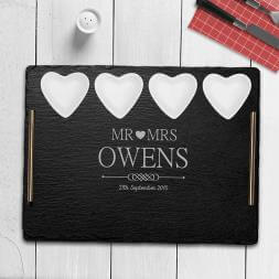 Personalised Couples Slate Serving Tray