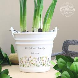 Personalised Wild Flowers Porcelain Bucket