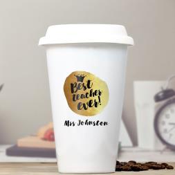 Personalised Best Teacher Ceramic Travel Mug