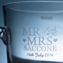 Personalised Glass Ice Bucket - Mr & Mrs