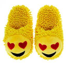 Fuzzy Friends Heart Eyes Emoji Slippers
