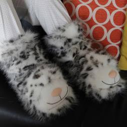 Snow Leopard Slipper Socks