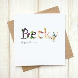 Personalised Floral Name Card
