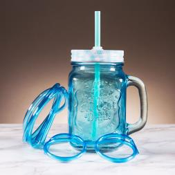 Personalised Mason Jar with Straw Glasses