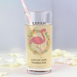 Personalised Flamingo Glass