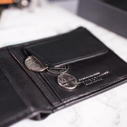 Mustard Black Leather Coin Wallet