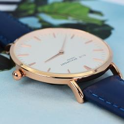 Personalised Navy Leather Watch