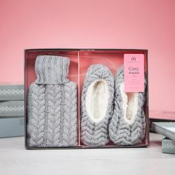 Cosy and Warm Hot Water Bottle and Cosy Slippers - Grey