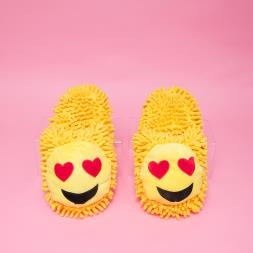 Fuzzy Friends Heart Eyes Emoji Slippers