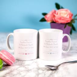 Personalised Wedding Mr & Mrs Mug Set