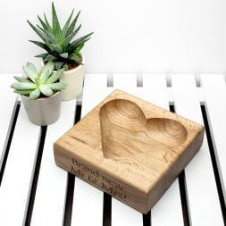 Personalised Solid Oak Heart Trinket Dish