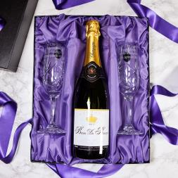 Personalised Pair of Crystal Flutes and Champagne