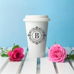 Personalised Initial Ceramic Travel Mug