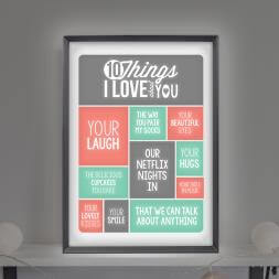 Personalised 10 Things I love About You Lightbox
