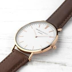 Personalised Men's Leather Watch - Brown