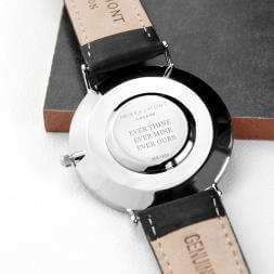 Personalised Men's Leather Watch - Black
