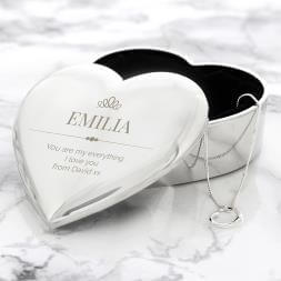 Personalised Crown Heart Trinket Box & Necklace Set