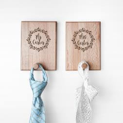 Personalised Couples Wreath Peg Hooks