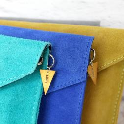 Personalised Suede Envelope Clutch Bag