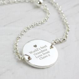 Personalised Silver Plated Disc Necklace