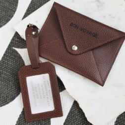 Personalised Leather Passport Holder and Luggage Tag
