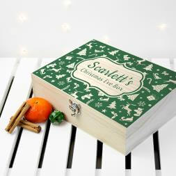 Personalised Christmas Eve Box With Festive Pattern