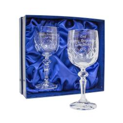 Personalised Pair of Cut Crystal Wine Glasses