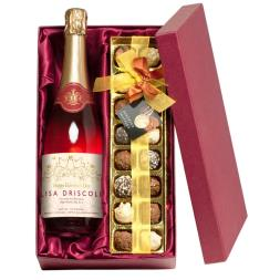 Personalised Valentines Sparkling Rose Wine with Chocolates